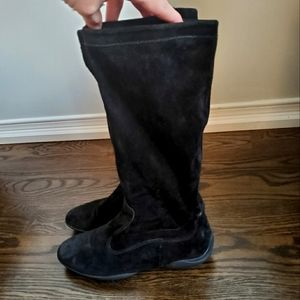 Geox Black Suede High Boots Size 37.5